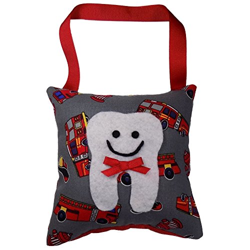 Tooth Fairy Pillow Keepsake, Boy's Fire Truck, Fire Engine Design Print - Red and Grey