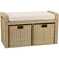 Household Essentials Woven Rattan Storage Bench, 19 H x 34 W x 14.5 D