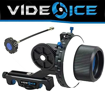 Video Ice DSLR Follow Focus Rig 2 Hard Stops Quick Release for Rails and a 12 Whip Left or Right Handed