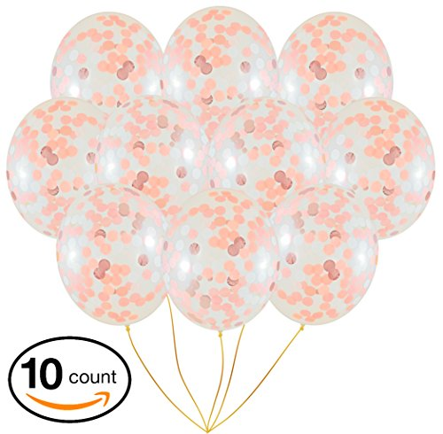 Rose Gold Confetti Balloons | 10 Pack Large 18