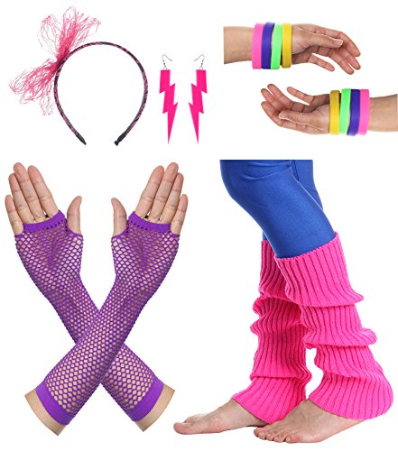 JustinCostume Women's 80s Outfit accessories Neon Earrings Leg Warmers Gloves (P)