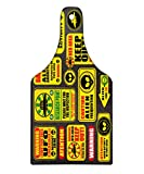 Lunarable Outer Space Cutting Board, Warning Ufo Signs with Alien Faces Heads Galactic Theme Paranormal Activity Design, Decorative Tempered Glass Cutting and Serving Board, Wine Bottle Shape, Yellow