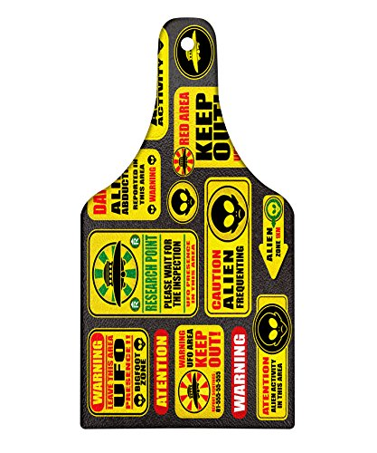 Lunarable Outer Space Cutting Board, Warning Ufo Signs with Alien Faces Heads Galactic Theme Paranormal Activity Design, Decorative Tempered Glass Cutting and Serving Board, Wine Bottle Shape, Yellow by Lunarable
