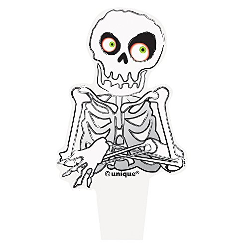 Plastic Skeleton Halloween Cupcake Toppers, 12ct