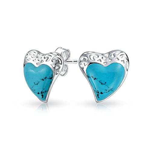 2aca1a597 Image Unavailable. Image not available for. Color: Bali Style Enhanced Turquoise  Heart Shape Stud Earrings For Women Scroll Filigree 925 Sterling Silver .