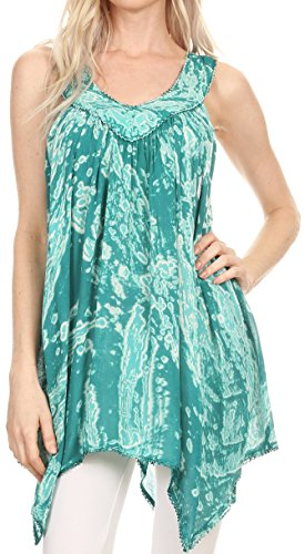 (Sakkas 17792 - Asaaya Sleeveless Tie Dye V-Neck Crinkle Style Trapeze Hem Lightweight Top - Mint - OS)