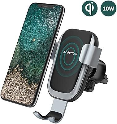 steanum Cargador Coche Inalámbrico, Qi Rápida Cargador Inalámbrico para Coche Sensor Gravedad 360° Rotación para Galaxy S9/S9+/S8/S8+/S7/S6 Edge+, ...