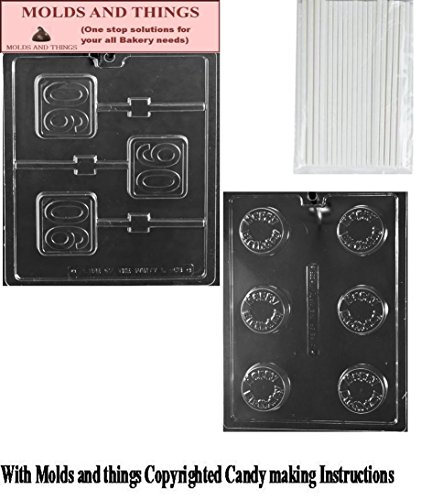 Number 90th Square Lolly chocolate candy mold HAPPY BIRTHDAY SANDWICH COOKIE chocolate candy mold Wiith molding Instructions