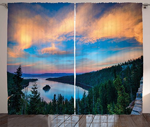 Tahoe Bedroom - Ambesonne Lake Tahoe Curtains, High Angle View of Californian Freshwater Lake Tranquil Scene Sundown, Living Room Bedroom Window Drapes 2 Panel Set, 108 W X 63 L Inches, Forest Green