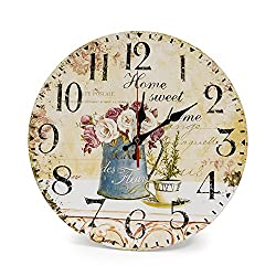 LOHAS Home 12 Inch Silent Vintage Design Wooden Round Wall Clock, Vintage Roman Numeral Design Rustic Country Tuscan Style Wooden Decorative Round Wall Clock(Cafe & Flower)