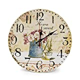 LOHAS Home 30cm Silent Wooden Round Wall Clock, 12' Vintage Shabby Chic Floral Patchwork Clock - for Living Room, Bedroom and Kitchen - Multi-Coloured Cute Retro Style, 30cm (Cafe & Flower)