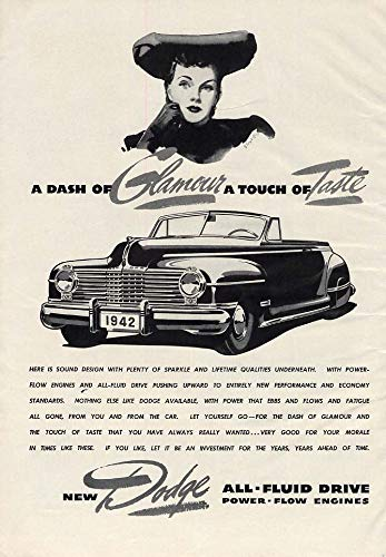 A Dash of Glamour - A Touch of Taste - Dodge Convertible ad 1942 ESQ