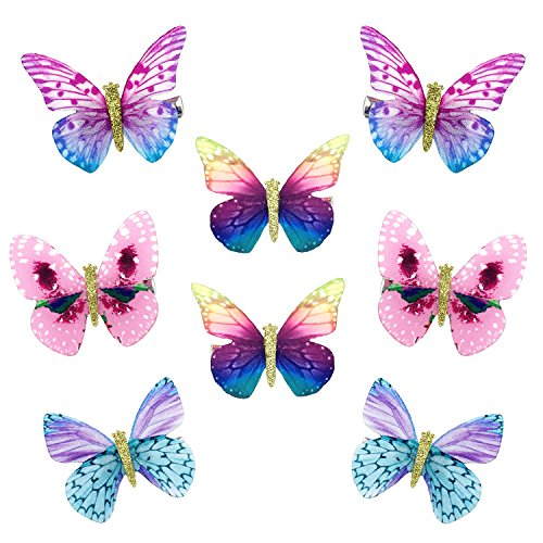 Elesa Miracle Baby Girl Hair Clips Toddlers Infants Kids Hair Butterfly Snap Clips Barrettes (8pc- Colorful Butterfly)]()