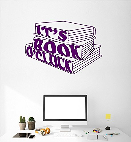 fotokun Quote wall decal sticker nursery vinyl saying lettering wall art inspirational wall decor It's book o'clock for library reading room ()