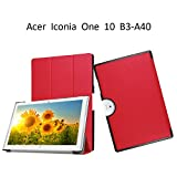 Flip Case Acer Iconia One 10 B3 A40 DETUOSI Cover,Ultra Slim Premium PU Leather Folio Case for Acer Iconia One 10 B3-A40 10 inch-Red