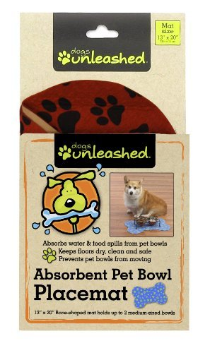 Dogs Unleashed Ritz Absorbent Bone Shape Pet Placemat, 13 by 20-Inch, Fire Hydrant Red by Dogs Unleashed