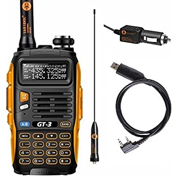Baofeng PoFung GT-3 Mark-II Handheld Ham Radio FM Radio Dual Band Two Way Radio Transceiver, Chipsets Upgraded, ABS Frame + Programming Cable
