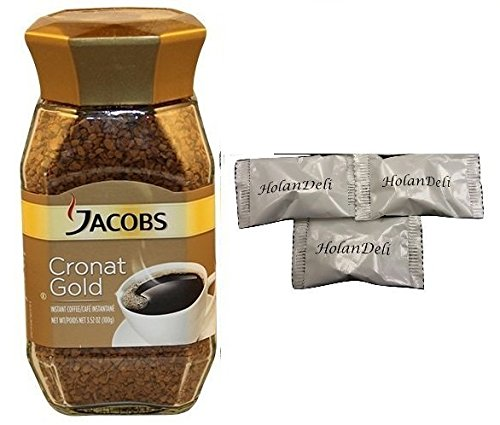 (pack of 2) Jacob's Coffee Cronat Gold Instant Coffee, 100gr, Includes Our Exclusive HolanDeli Chocolate - Jacobs Gold