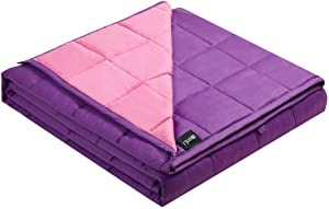 ZonLi Cooling Weighted Blanket 20 lbs (60''x80'', Pink/Purple), Cool Weighted Blanket for Adults, 100% Cotton Material with Glass Beads