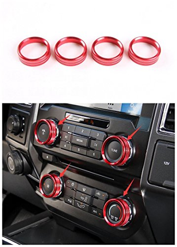 Bestmotoring?? 4pcs Aluminum Car air conditioning audi switch trims for Ford F150 2016 (Aluminum Air Conditioning)