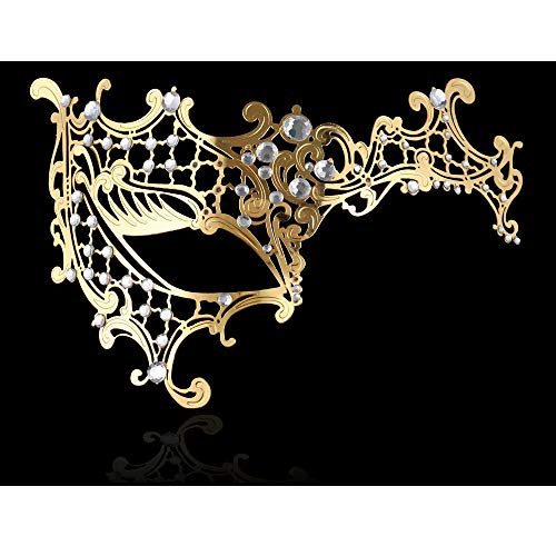 FaceWood Masquerade Mask for Women Ultralight Gorgeous Gold & Silver Shiny Metal Rhinestone Mask. (Half Face Gold) -