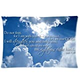 Bible Verse ''So do not fear,for I am with you;do not be dismayed,for I am your God.I will strengthen you and help you;I will uphold you with my righteous right hand.'' Isaiah 41:10 Two Sides Rectangle Zippered Pillowcase Pillow Cover 20x30 inches