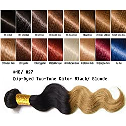 """uSTAR 6A ombre Brazilian Human Hair BODY WAVE Bundle Best Quality Hair Weave Extension, 100% Human Hair GUARANTEED beautiful Dip Dyed Ombre Two-Tone Color #1B/#27 - 26"""""""