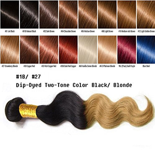 uSTAR 6A ombre Brazilian Human Hair BODY WAVE Bundle Best Quality Hair Weave Extension, 100% Human Hair GUARANTEED beautiful Dip Dyed Ombre Two-Tone Color #1B/#27 - 12