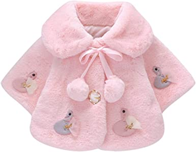 DDKK Kids Winter Coats,Toddler Baby Girls Winter Cartoon Faux Fur Cape Windbreaker Warm Cloak,Most Wished Gift