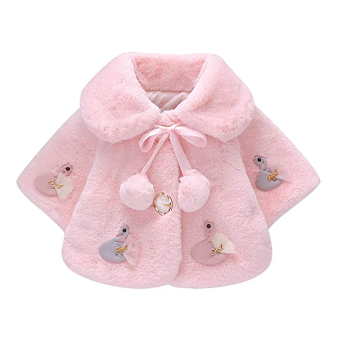 Baby Faux Fur Jacket Cute Christening Coat Wedding Shawl Hooded Wrap Babies Size