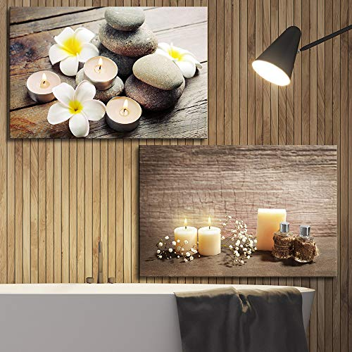 2 Panel Spa Concept with Zen Stones and Candles x 2 Panels