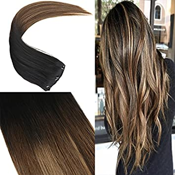 Youngsee 14inch Balayage Clip in Hair Extensions Human Hair Black to Dark  Brown with Caramel Blonde
