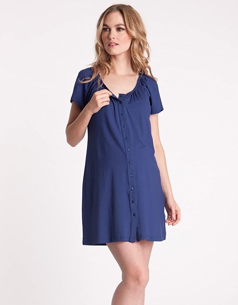 Amazon.com  Seraphine Midnight Blue Button Down Maternity Nightie  Clothing 5228284af