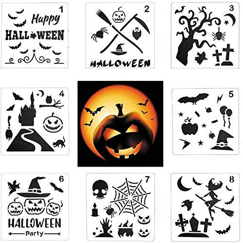 DIYASY 8 PCS Halloween Stencils Template,DIY Decorative Plastic Stencils for Drawing and Painting Spraying.