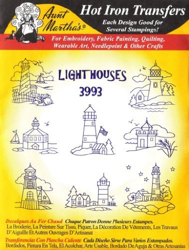 Lighthouses Aunt Martha's Hot Iron Embroidery Transfer by Aunt Martha's