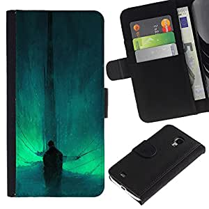 YiPhone /// Tirón de la caja Cartera de cuero con ranuras para tarjetas - Resumen Bat - Samsung Galaxy S4 Mini i9190