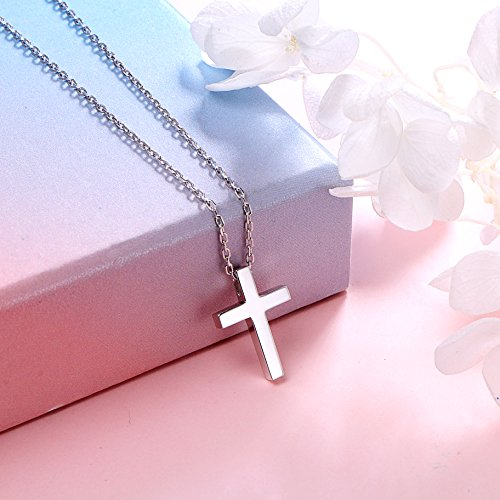 ALPHM S925 Sterling Silver Small Cross Pendant Necklace for Children Girl Baby boy 16'' Chain by ALPHM (Image #2)