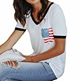 Bloomn Short Sleeve Casual Short Sleeve Tank Tops Stitching Sleeve Flag Print Top White
