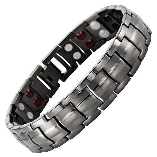 Double Strength 4 Element Titanium Magnetic Therapy Bracelet for Arthritis Pain Relief Gunmetal Colour Adjustable By Willis Judd