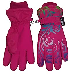 N\'Ice Caps Little And Big Girls Ombre Shaded Scroll Print Ski Gloves (6-8yrs, fuchsia/neon green/neon blue/lavender/neon purple)