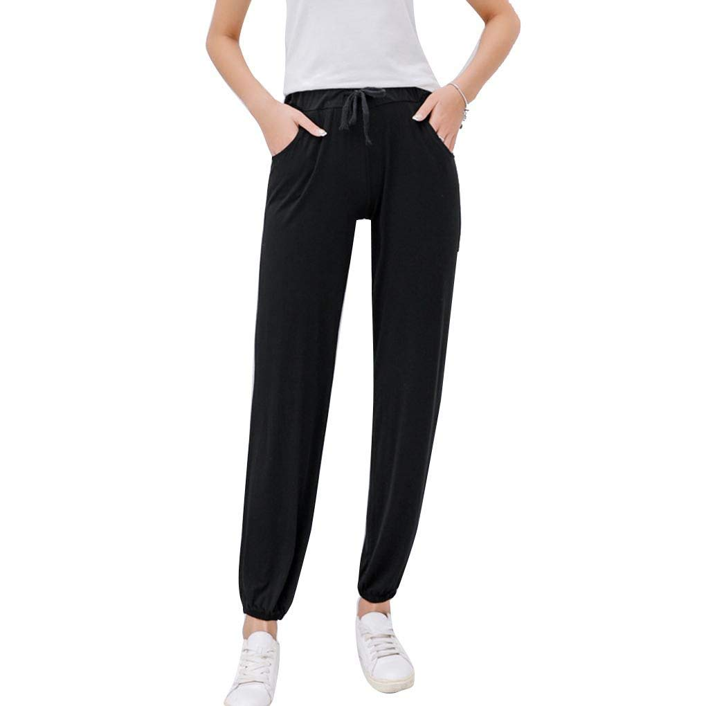AUWU Women Loose Fit Ankle-Length Pants Girl Solid Color Casual Knitting Trousers