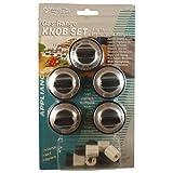 5 Pcs Gas Range Knob Set Replacement Black with Silver Overlay By Aqua Plumb #RKG