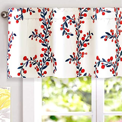 DriftAway Angelena Floral Botanical Pattern Thermal Insulated Blackout Window Curtain Valance Rod Pocket 2 Layers 52 Inch by 18 Inch Plus 2 Inch Header Red Navy