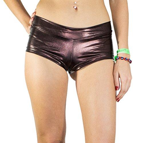 (Santa Playa Short Shiny Booties by, Women's Breathable Swim Yoga Party Shorts (Medium, Brown Sugar))