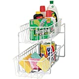 MS Home 2-Tier Vinyl Coated Rustproof Sliding Kitchen Rack - Freestanding, Multi-Purpose - 15.5'' L x 7.5'' W x 11.5'' H; 4.25'' D baskets