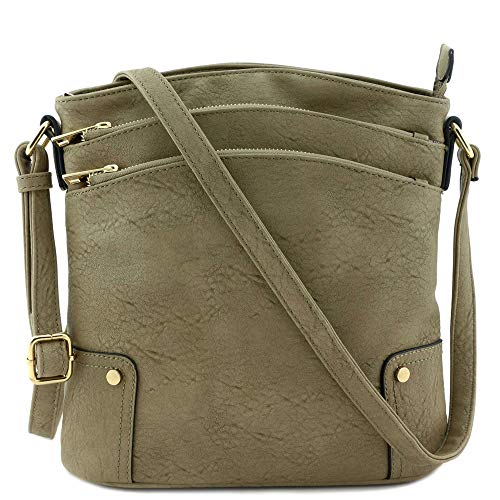 (Triple Zip Pocket Large Crossbody Bag Stone)