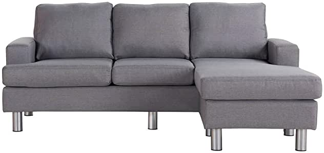 3 Three Seater Linen Fabric Sofa Chaise Couch Lounges Suite Set Grey
