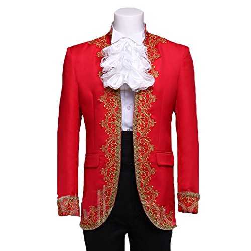 SHOLIND Court Medieval European King Prince General Noble Family Gentlemen Costumes (XL Height:175-180 cm, Red) - Ballroom Costume Fabric