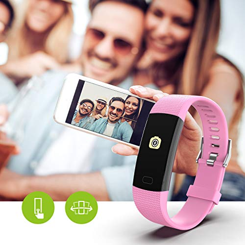 Fitness Tracker HR, Y1 Activity Tracker Watch with Heart Rate Monitor, Pedometer IP67 Waterproof Sleep Monitor Step Counter for Android & iPhone (Pink) by Akuti (Image #6)