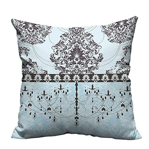 Bedsure Pillowcases Card Black Flowers Leav and Chandelier Print Light Blue Black Sofa Bed Home Decoration(Double-Sided Printing) 11x19.5 inch